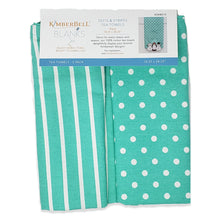 Load image into Gallery viewer, Kimberbell Dots & Stripes Tea Towels- Teal