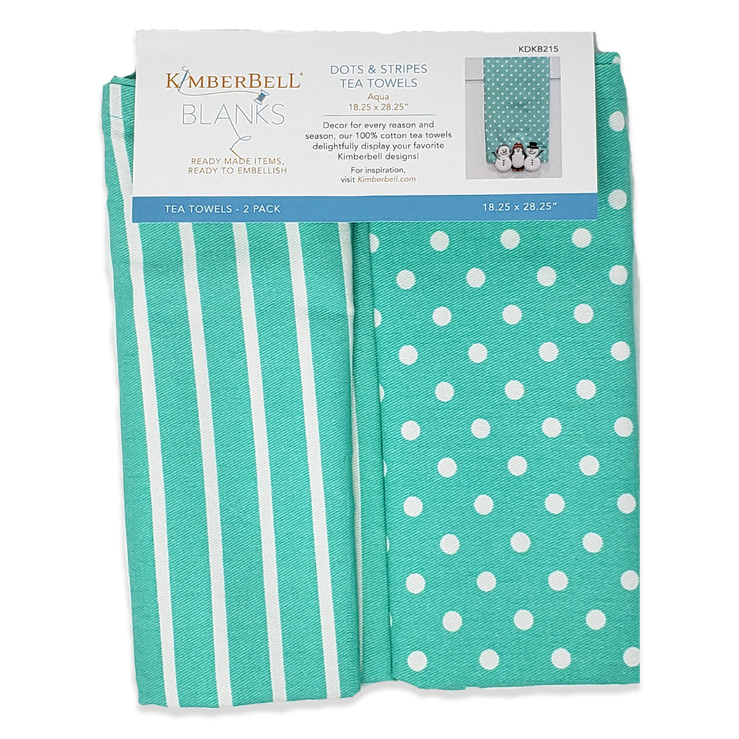 Kimberbell Dots & Stripes Tea Towels- Teal