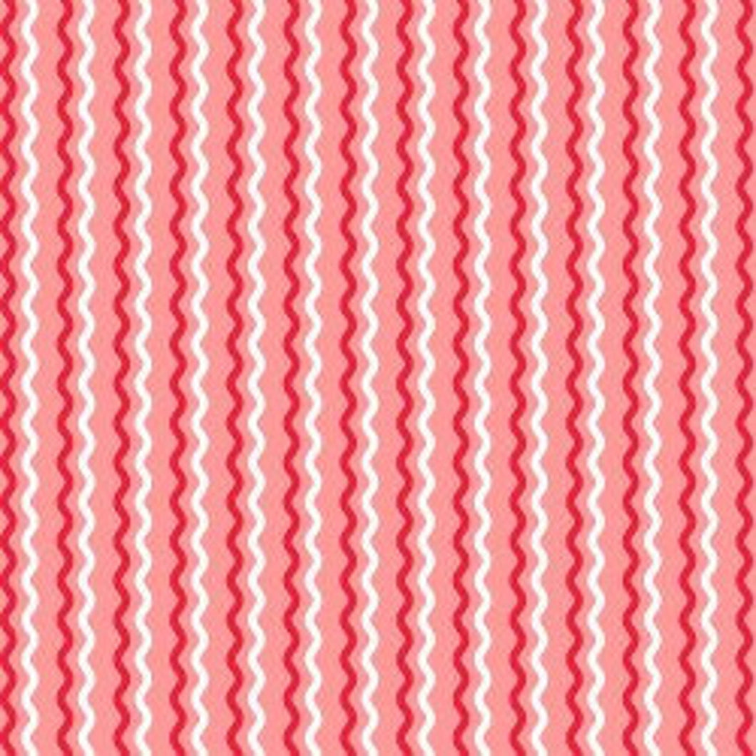 Kimberbell Wavy Stripes Pink Red and White