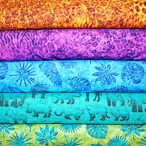 QT Fabrics Serengeti Palm Leaves Royal