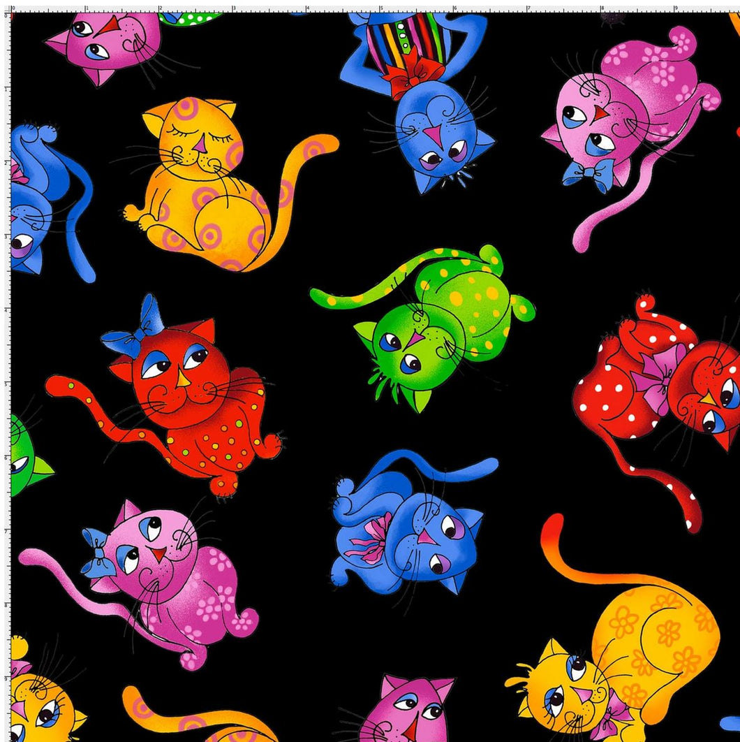 Loralie Designs Tossed Cool Cats - Black