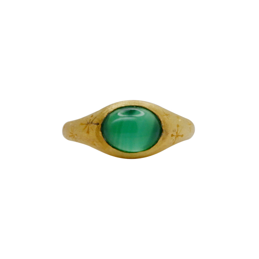 Helios Ring with Green Agate