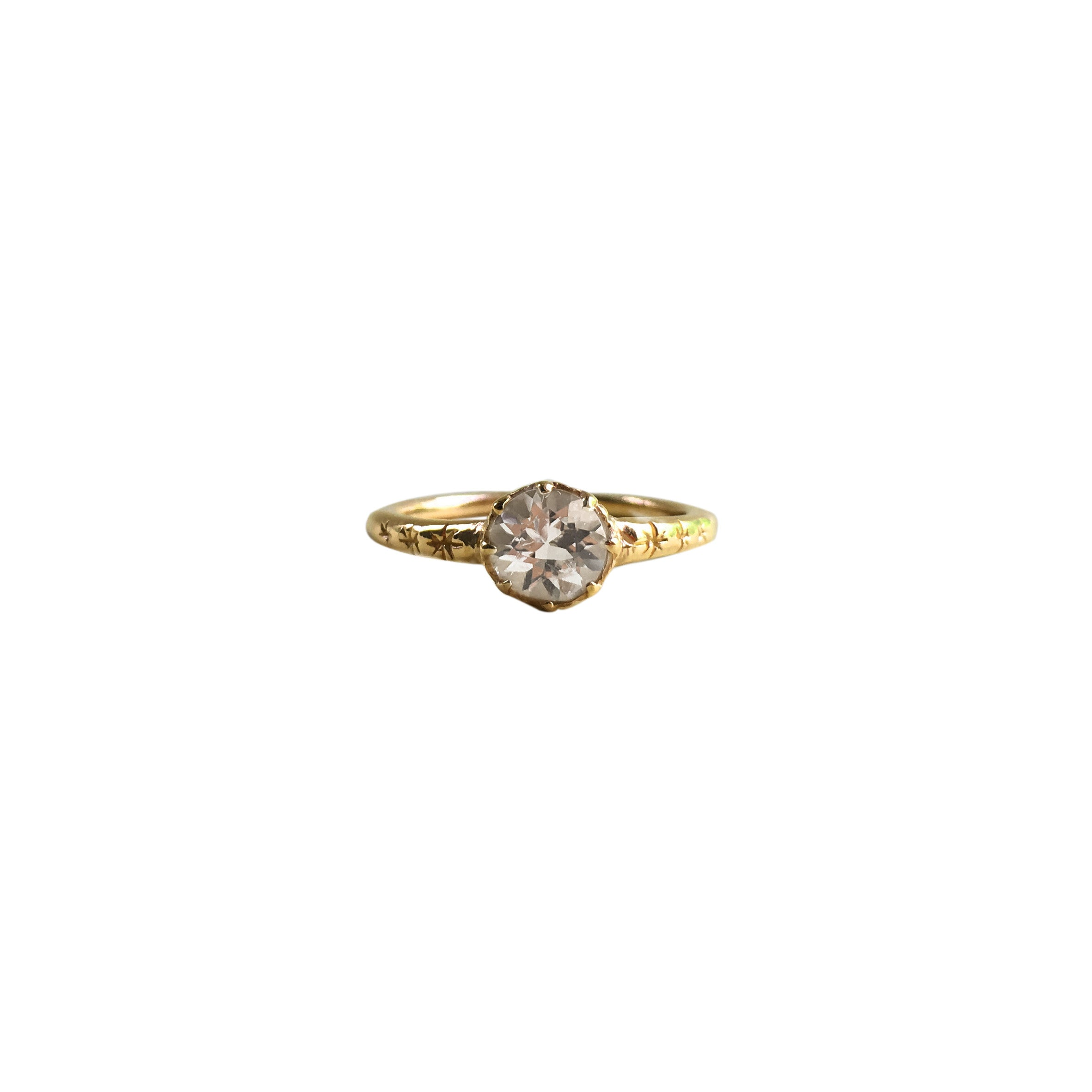 Starburst Solitaire Ring with White Topaz