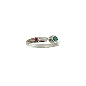 Sacred Solitaire with Emerald and Rubies