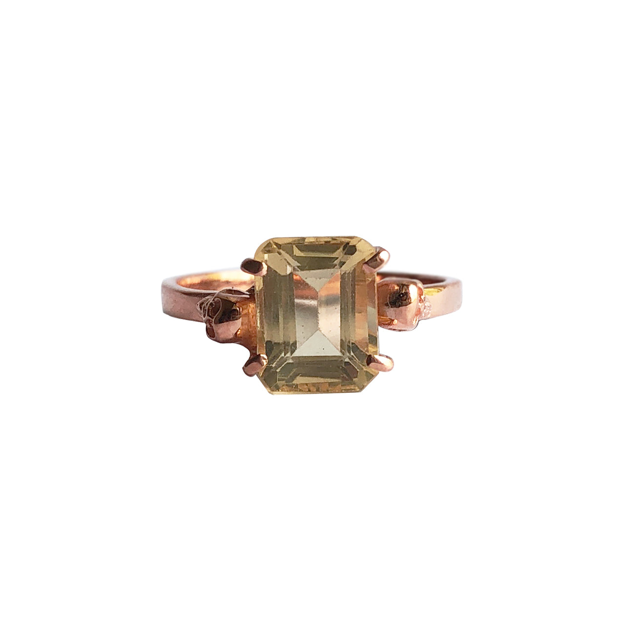 Twin Skull Solitaire With Citrine