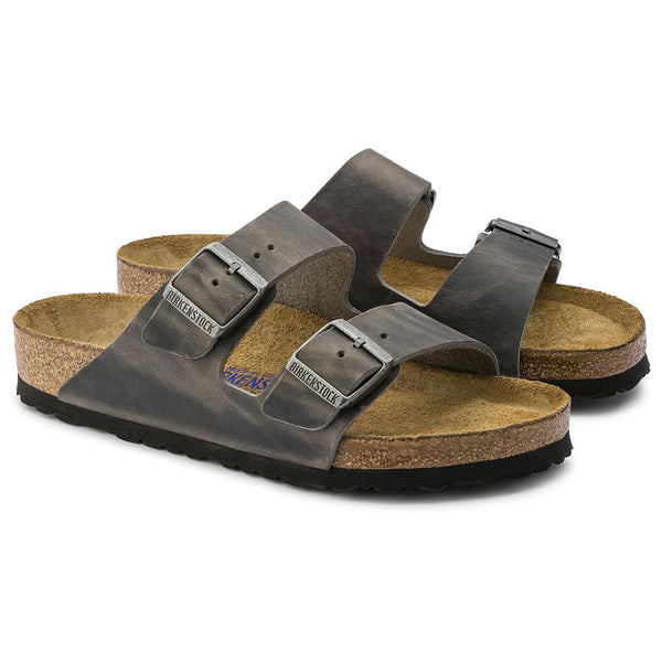 Birkenstock - Arizona Soft Footbed Oiled Leather Iron 552801