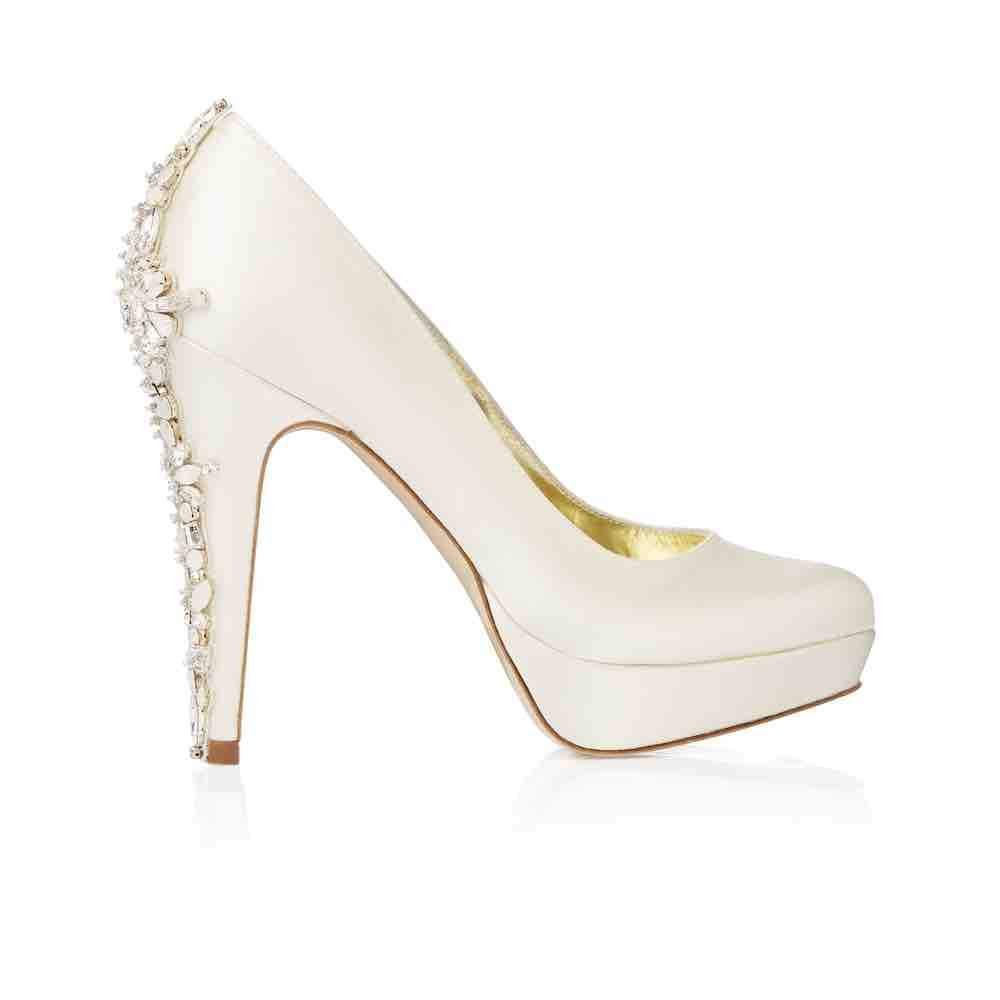 Ivory Satin Platform Shoe with Hand Embellished Crystals. Freya Rose style 'Catherine' is a classic and stylish almond toe court shoe, handmade with Ivory Duchess silk satin upper. Freya Rose and Toes in Bows
