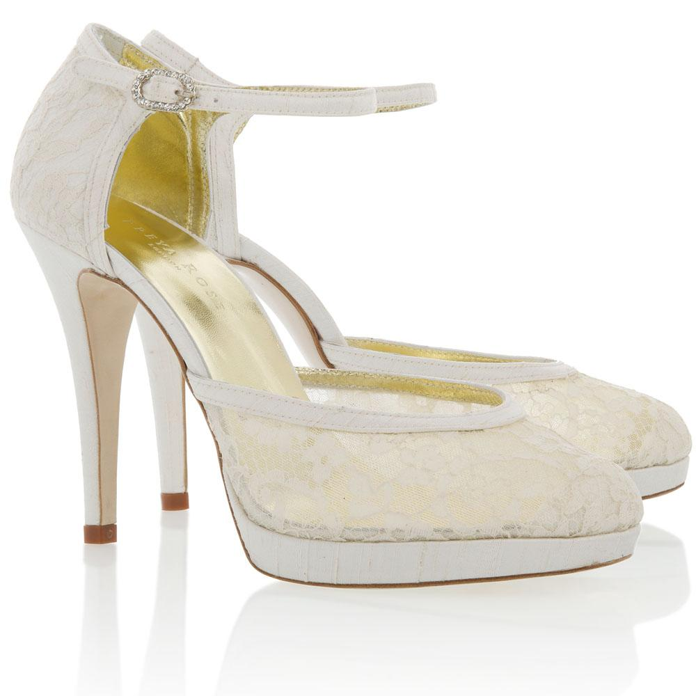 Ophelia. Ivory platform lace and silk mary-jane shoe.