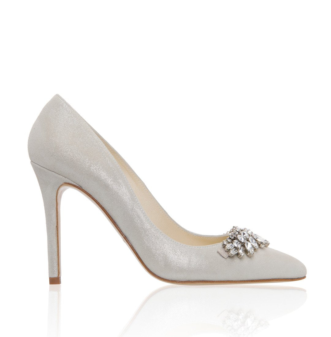 Chandelier Champagne. Suede point wedding shoe with Swaroski trim.