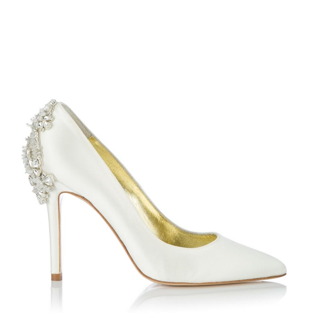 Lottie Ivory. Pointed toe court shoe with embellished crystals.
