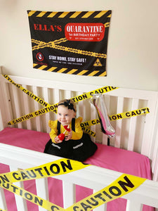 Happy Quarantine Birthday Banner - Black