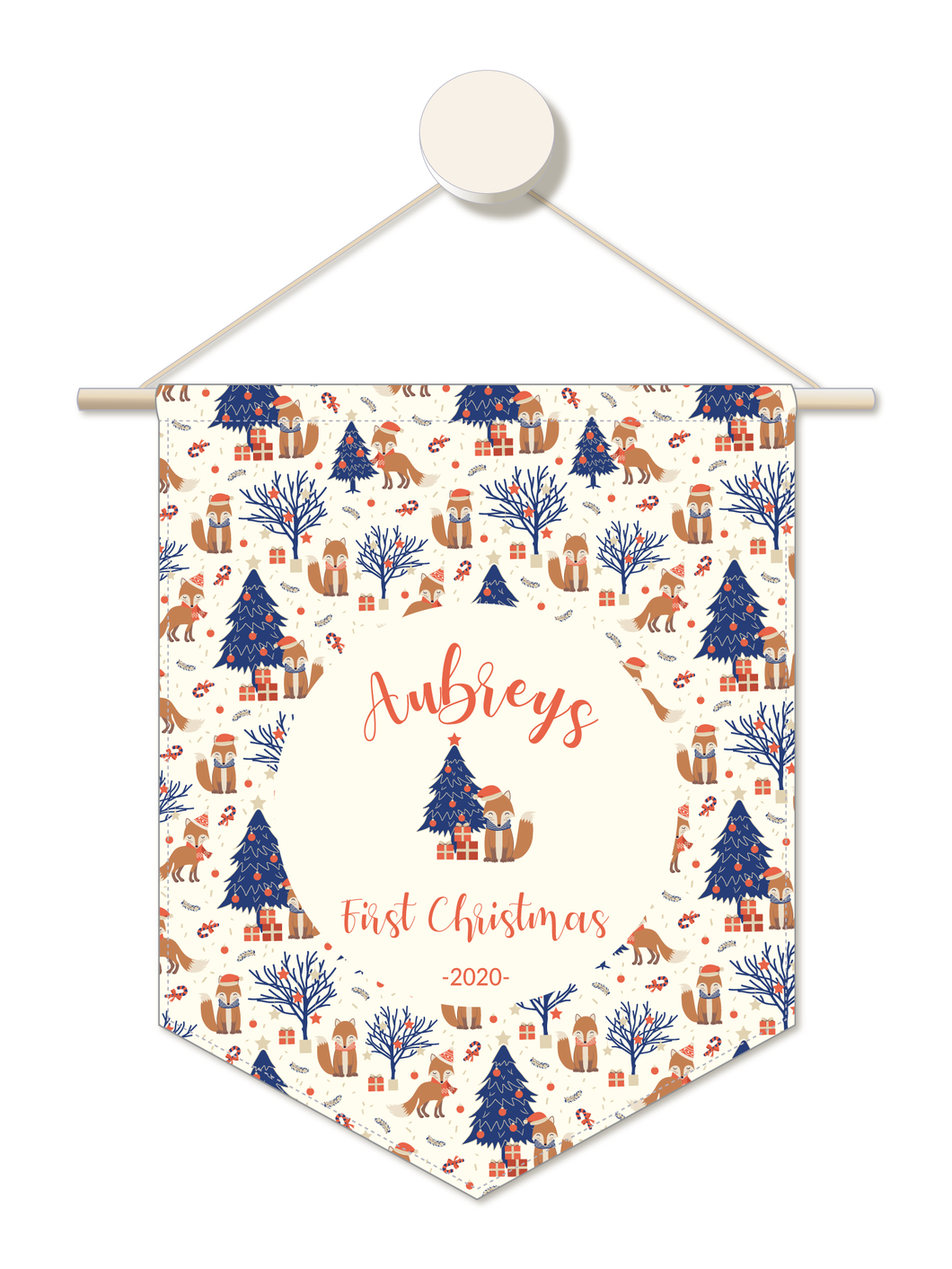 Festive Fox Personalised 1st Christmas Hanger