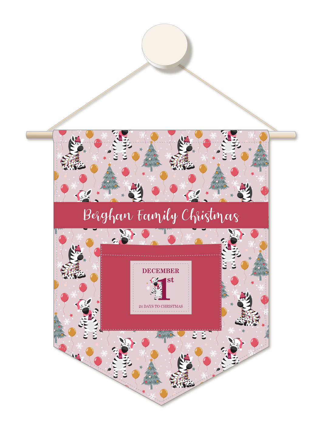 Party Zebra Personalised Advent Calendar Hanger