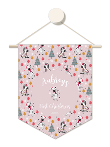 Party Zebra Personalised 1st Christmas Hanger