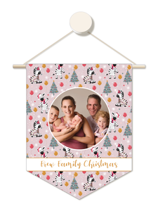 Party Zebra Personalised Family Christmas Hanger