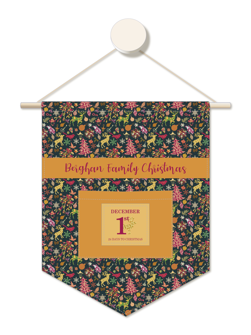 Wall to Wall Christmas Personalised Advent Calendar Hanger