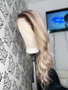 Ash blonde highlighted wig with dark roots