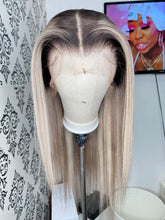 Load image into Gallery viewer, Ash blonde highlighted wig with dark roots