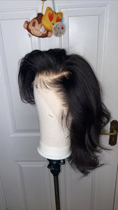 Deep side-part layered wig