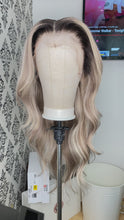 Load and play video in Gallery viewer, Ash blonde highlighted wig with dark roots
