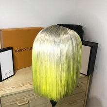 Load image into Gallery viewer, Neon yellow Ombré bob wig