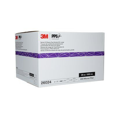 3M 26024 PPS 2.0 Series Large Spray Micron Spray Cup System Kit Box