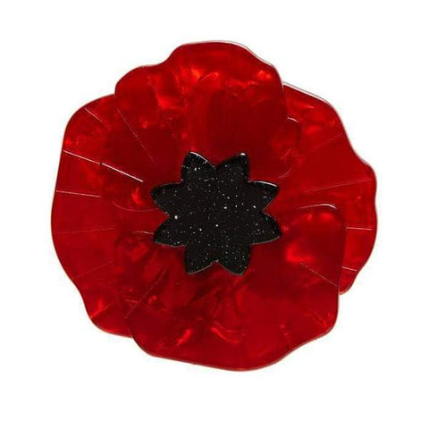 Poppy Field Brooch - Red