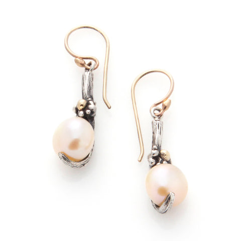 Gold Floral Pearl Earrings | by Louise Douglas