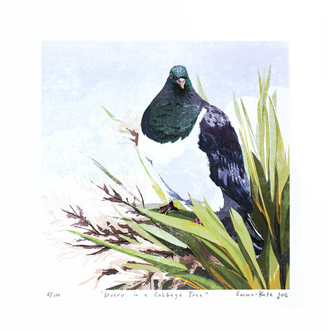 Kererū in a Cabbage Tree Print | By Emma-Kate Moore