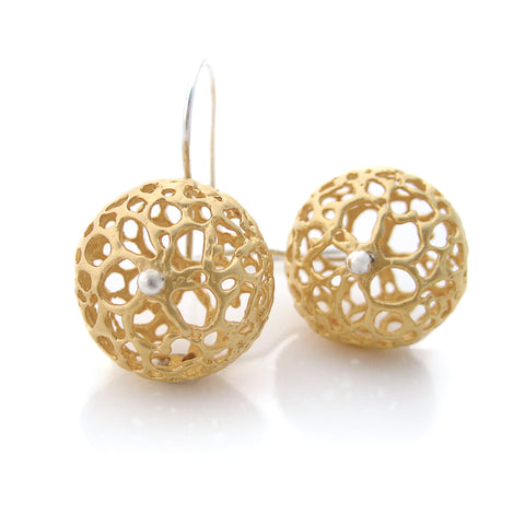 Gold Lace Pod Earrings - large | by Louise Douglas