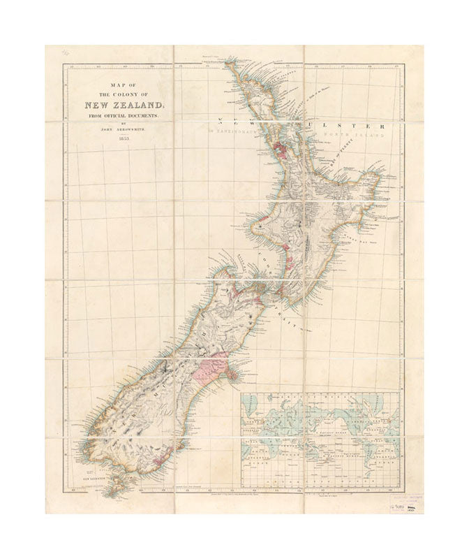 Map Of New Zealand Auckland.A2 Poster 1853 Map Of New Zealand