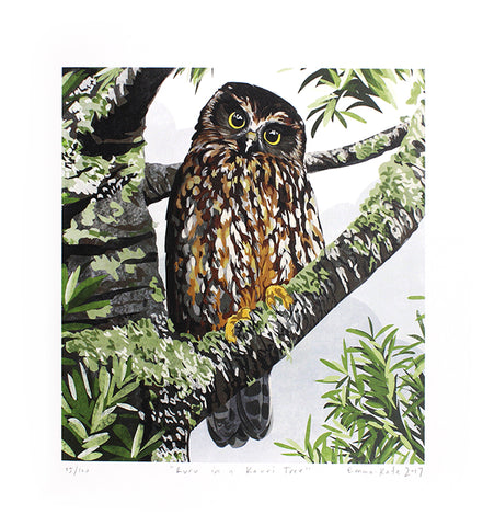 Ruru in a Kauri Tree Print | By Emma-Kate Moore