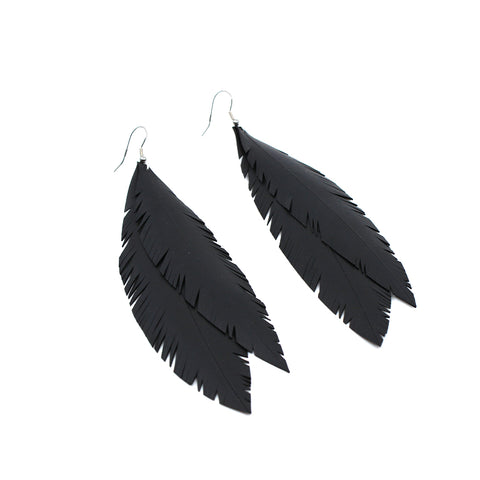 """Jacinda"" Double Feather Up-cycled Earrings 