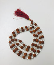 Load image into Gallery viewer, Clear Quartz Crystal Rudraksha Mala