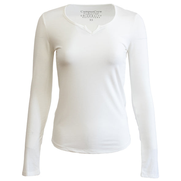 Women's Campus Crew Long Sleeve Notch Neck T-Shirt - EXTRA 40% at checkout
