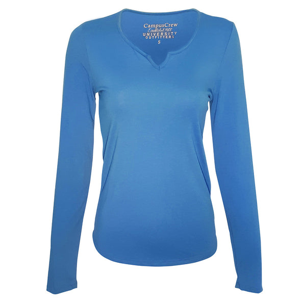 Women's Campus Crew Long Sleeve Notch Neck T-Shirt