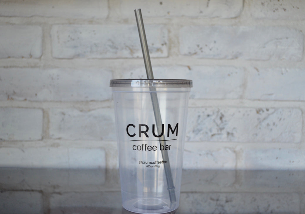 CRUM Plastic Cold Cup with Straw