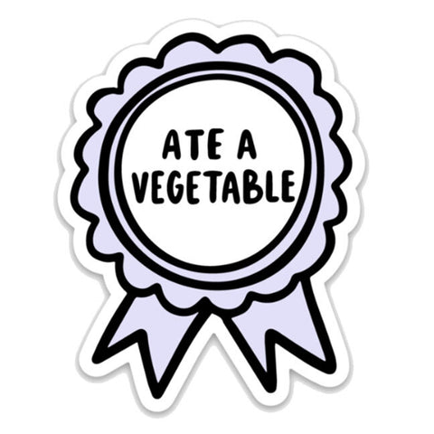 Ate A Vegetable Ribbon Sticker