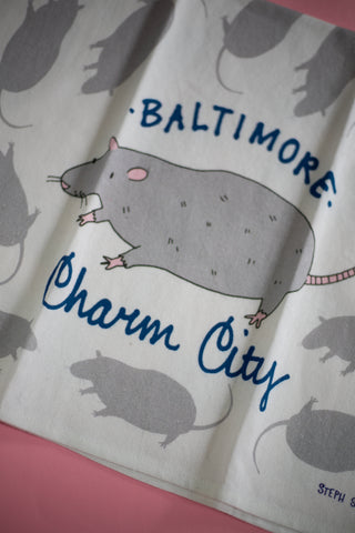 Charm City Rat Dish Towel