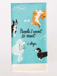People and Dogs Dish Towel