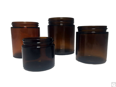 Straight Sided Round Jars - Amber- 24pk
