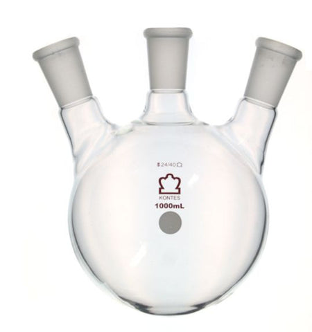 ROUND BOTTOM DISTILLING FLASKS- 3 Neck Angled