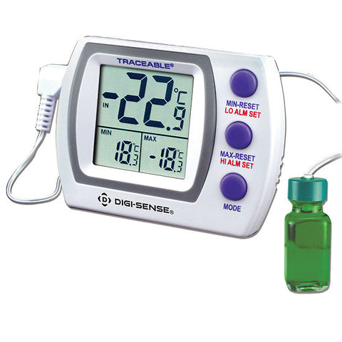Digi-Sense Calibrated Jumbo Refrigerator/Freezer Thermometer, bottle probe