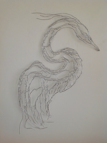 Silver Heron wire sculpture in aluminum wire.