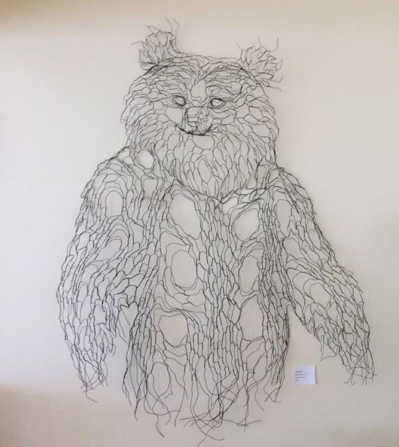 Spirit Bear wire sculpture, made with single strand spool wire