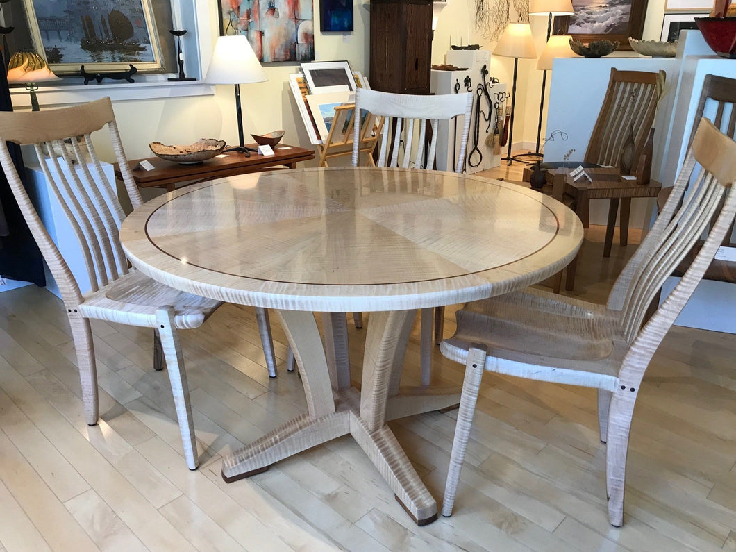 Sunburst inlaid design on round dining table with 4 chairs-custom order