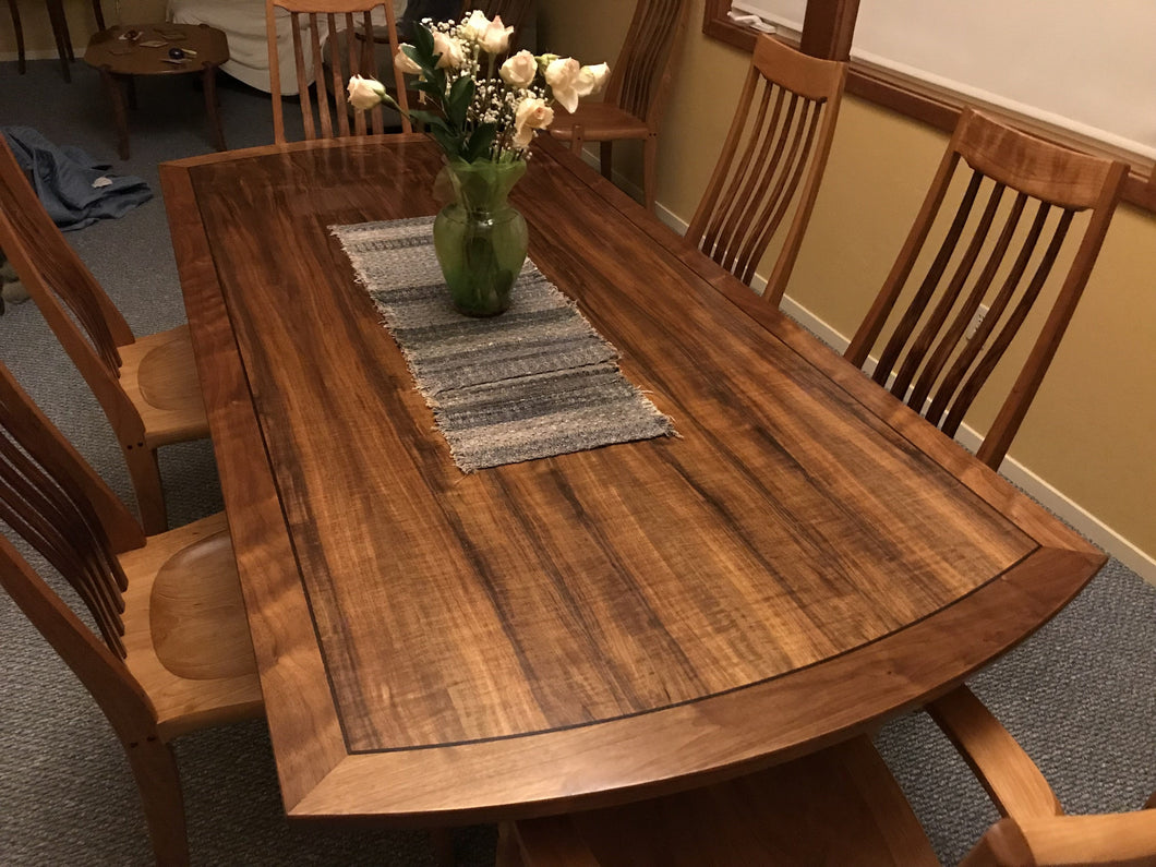 Rectangular walnut dining table with 6 chairs-Custom Order