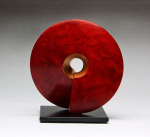 "Wow, ceramic sculpture in red 16"" x 16"""