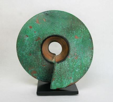 Wow, ceramic sculpture in verde patina 16