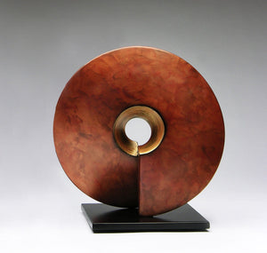 "Wow, ceramic sculpture in copper and gold 16"" x 16"""